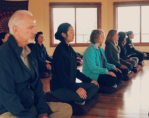 MBSR class meditating